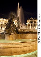 della, noche, plaza, fuente, repubblica