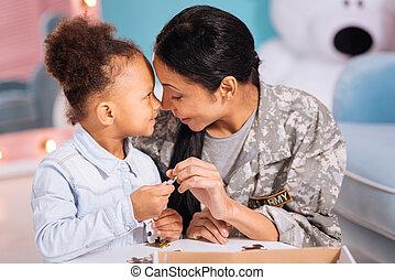 delning, dotter, familj, bedöva, ögonblick, mamma