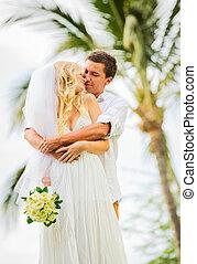 delning, just, förtrogen, par, gift, ögonblick