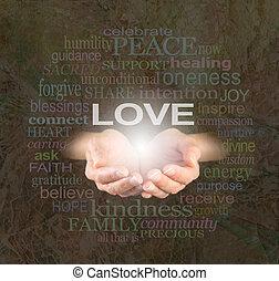 delning, kärlek, med, dig