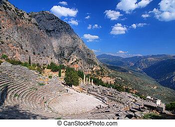 Delphi ancient ruins, Parnassus mountains, Greece