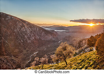 Delphi with sunset in Greece