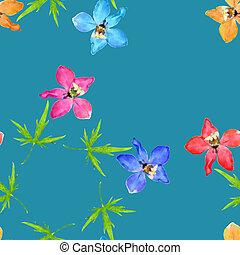 Delphinium, larkspur. Illustration, texture of flowers. ...