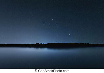 Delphinus star constellation, Night sky, Cluster of stars, ...