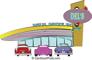 dels drive inn from the fifties - fifties drive inn with...