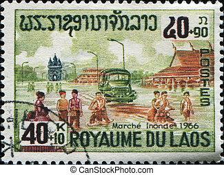 delta de mekong, inundación, alivio, inundado, market-place