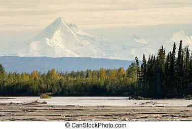 Delta River Overcast Skies Alaska Mountain Range Last Frontier