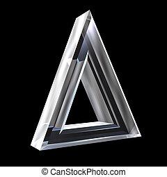 delta, vidrio, símbolo, (3d)
