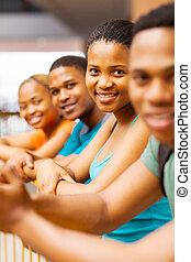 deltagare, amerikan, högskola, afrikansk