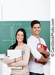 deltagare, bindare, holdingen, mot, chalkboard