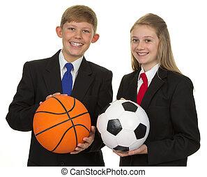 deltagare, boll, två, holdingen, lycklig