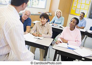deltagare, deras, klassrum, mogna, lärare