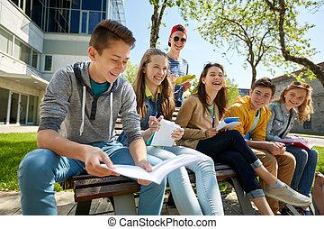 deltagare, gård, skola, anteckningsböcker, grupp