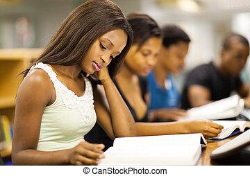 deltagare, högskola, amerikan, grupp, afrikansk