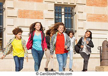 deltagare, spring, lycklig, vandrar, utomhus