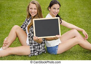 deltagare, tennage, chalkboard, holdingen