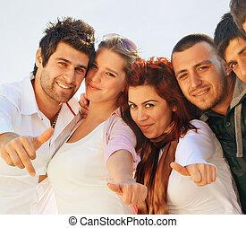 deltagare, turkisk, uppe, tummar