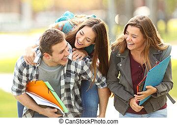 deltagare, vänner, campus, lycklig