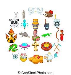 Delusion icons set, cartoon style
