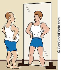 Delusional - Flabby man sees himself as buff in the mirror