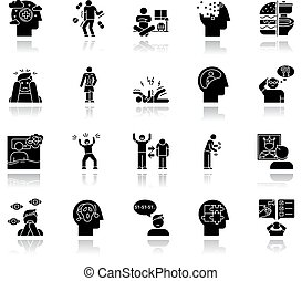delusions, glyph, set., spectrum., 影, syndrome., ベクトル, 両極, 隔離された, anorexia., 無秩序, autism, アイコン, disorder., schizophrenia., amnesia., 黒, bulimia, obsessive-compulsive, イラスト, 低下, 精神