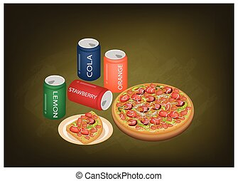 Deluxe Pizza and Soda Drinks on Chalkboard
