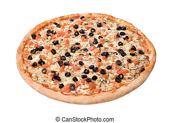 Deluxe Pizza. Isolated on a white background. Studio shot