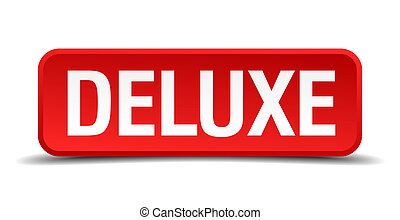 Deluxe red 3d square button isolated on white background