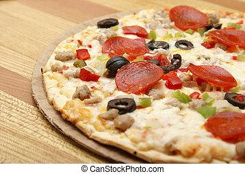 deluxe, skorpe, tynd, pizza