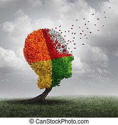 demência, cérebro, perda