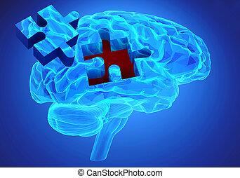 demência, doença, e, um, perda, de, cérebro, função, e, memórias