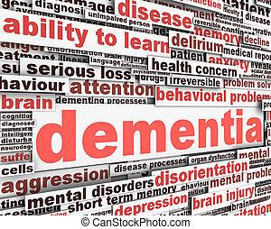 demência, mensagem, conceitual, desenho