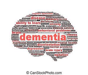 demência, mensagem, desenho, isolado, branco
