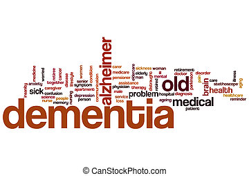 demência, palavra, nuvem