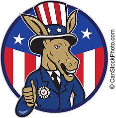 demócrata, burro, mascota, pulgares arriba, bandera
