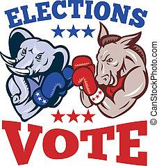 demócrata, burro, republicano, elefante, mascota