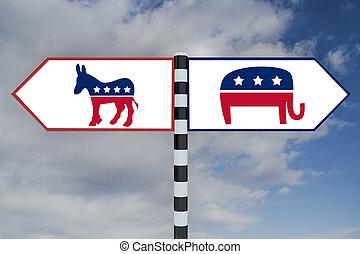 demócrata, contra, republicano, concepto