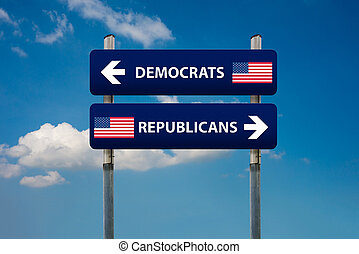 demócrata, y, republicano, conceptos, en, norteamericano, elección