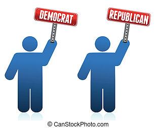 demócrata, y, republicano, iconos