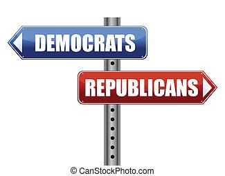 demócratas, y, republicanos, elección