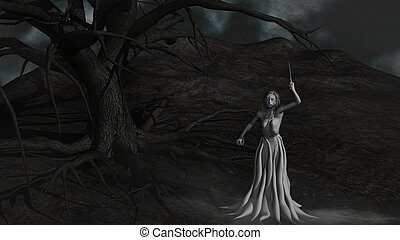 demônio, árvore, mal, sob