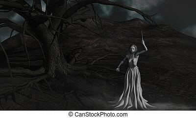 demônio, sob, mal, árvore
