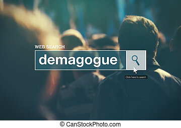 Demagogue - web search bar glossary term