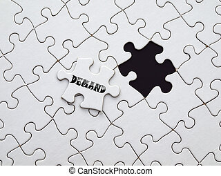 Demand - black word demand on the puzzle