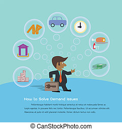 Demand - Young businessman thinking of how to solve demand...