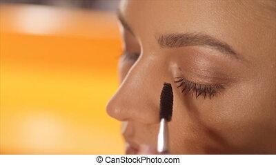 demande, artiste, cil, maquillage, haut, maquillage, fin, model's, vue., eye.