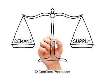 demande, concept, échelle, fourniture