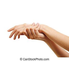 demande, elle, beauté, quelques-uns, lotion, girl, main, blanc