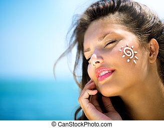 demande, elle, beauté, soleil, face., bronzage, girl, bronzage, crème