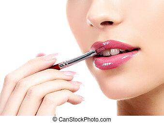 demande, femme, brosse, maquillage, jeune, lèvres, cosmétique, beau